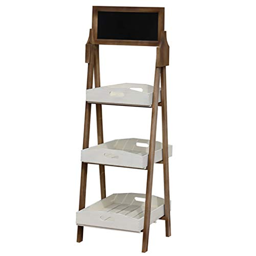 FZN Stand de Fleur en Bois de 3 Niveaux Room Salon d'intérieur Balcon Présentoir de Plancher Plateau de Support de Plancher avec Petit Tableau Blanc Blanc + Brun Pots de Fleurs