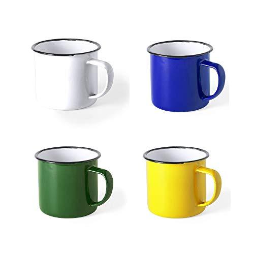 COSAS43 DETALLES PARA INVITADOS BODA-COMUNION-BAUTIZO Lote de 4 Tazas de Metal esmaltado. Diseño Retro con imperfecciones. Ligeras y Resistentes. 4 Colores Azul, Blanco, Amarillo, Verde