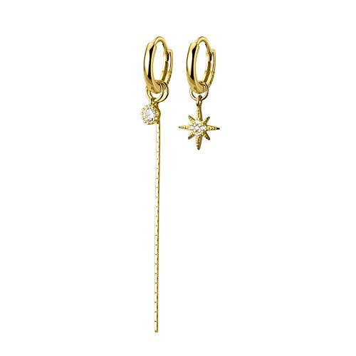DFDLNL Conjuntos de Pendientes para Mujer Aros Circulares asimétricos Pendientes de aro para Mujer Pendientes de Estrella de Color Dorado Regalos de Fiesta goldstarchain