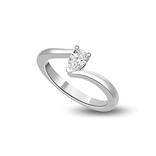 0.25ct H/SI1 Solitario Diamante Fidanzamento Anello da Donna con Pera diamante in 18kt Oro bianco