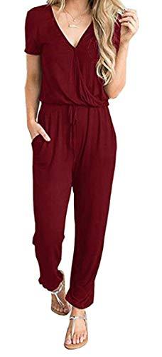 PRETTYGARDEN Women's Sexy Deep V Neck Short Sleeve Wrap Drawstring Waist Jumpsuit Romper with Pockets (101002 Wine Red, Small)