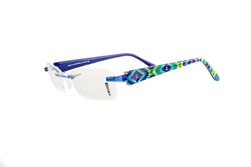 Switch it! Combi 2200 Brille Montur Wechselbrille Garnitur – blau-gelb-grünes Rautenmuster