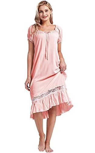 Nanxson Camisón Mujer Sexy Cordón Ropa de Dormir Verano Manga Corta Camisones Vintage Victoriano Pijamas (L, Rosado)