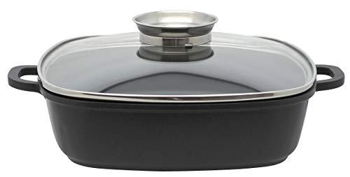 ELO 86681 Alucast 28 x 28 cm Servierpfanne eckig 28 cm, Aluguss, 3.6 liters, schwarz