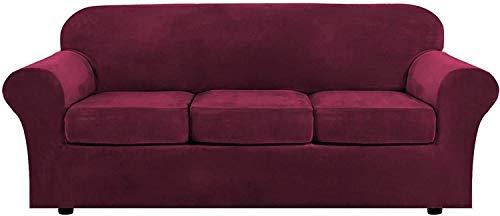 WLVG 1,2,3 Funda de sofá elástica para Sala de Estar con 2 Fundas de cojín separadas, Funda para Muebles con Fondo elástico, Protector Antideslizante para Muebles (Rojo Vino, 3 plazas (173-229 cm