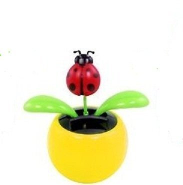 Red Ladybug in Yellow Pot Solar Flapper Dancing Flower Collection