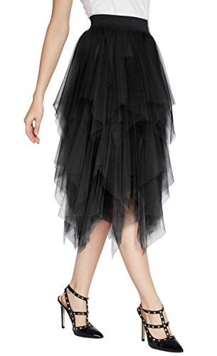 Women's Elegant Mesh Layered Tulle Skirt Sheer Tutu Skirt Midi Dress (M, Black)