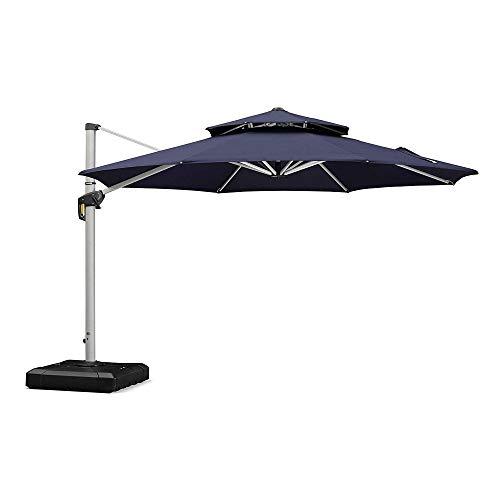 PURPLE LEAF 13 Feet Double Top Round Deluxe Patio Umbrella Offset Hanging Umbrella Outdoor Market Umbrella Garden Umbrella, Navy Blue