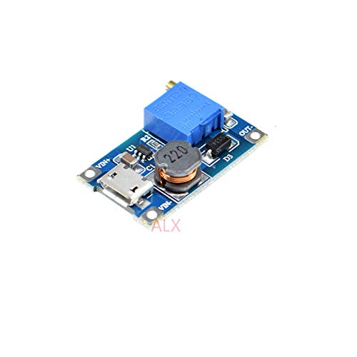 5PCS Micro USB Input DC-DC Adjustable Step-up Booster Power Supply Module Board 2A MAX MT3608 DC DC Converter 2-24V to 28V