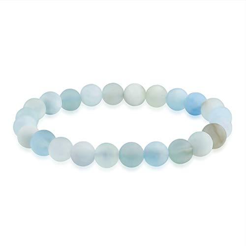 Bling Jewelry Mate luz eléctrica Azul Aguamarina Piedra Preciosa Redonda Bola de...