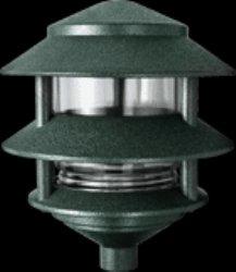 RAB Lighting LL322VG Incandescent 3 Tier Lawn Light, A-19 Type, 75W Power, 1220 Lumens, 120VAC, Verde Green