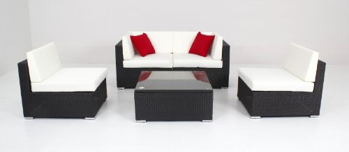 husen 5pc Patio Furniture Sofa Set Rattan Wicker Patio Sectional Outdoor Deck Couch T172