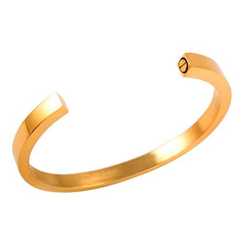 KBFDWEC Brazalete de joyería de cremación de Metal sólido de 60 mm, Brazalete de Tornillo Oculto, Brazalete de Cenizas de urna Conmemorativa