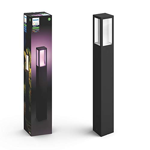 Philips Hue Impress Poste o columna exterior LED inteligente negro, luz blanca y de colores, compatible con Amazon Alexa, Apple HomeKit y Google Assistant