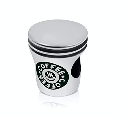 BOLENVI Taza de café para amantes de la cafeína, plata de ley 925, colgante de abalorio para pulseras o collares de abalorios similares