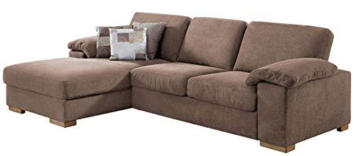 CAVADORE Ventere Ecksofa mit Longchair links / Großes Schlafsofa im modernen Design mit Bettfunktion / 277 x 86 x 172 / Hellbraun