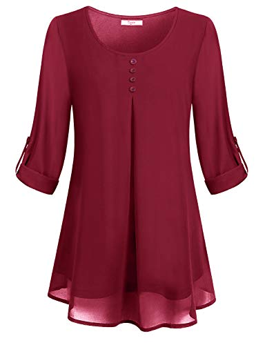 Cestyle Peasant Blouses, Womens Petite Long Sleeve Vintage Button Dowm Shirt Chiffon Lean Sleek Rolled Cool Fresh Draped Shirred Work Solid Color Customize Shift Top Zulily Streth A Line Tunic Red L