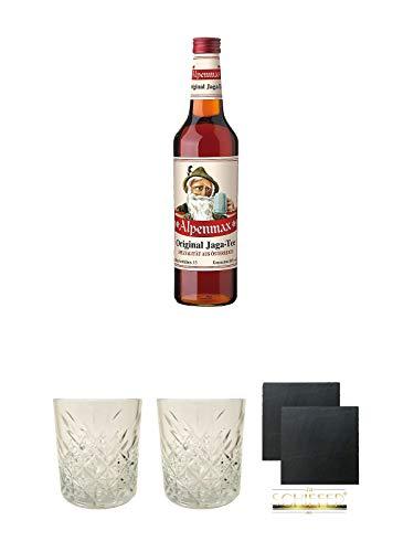 Alpenmax Jaga Tee 0,7 Liter + Rum Glas 1 Stück + Rum Glas 1 Stück + Schiefer Glasuntersetzer eckig ca. 9,5 cm Ø 2 Stück