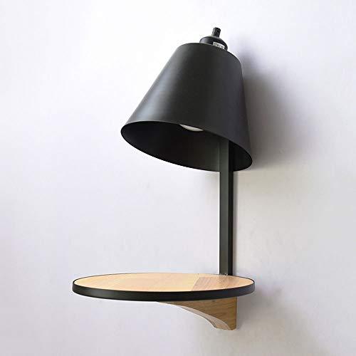 Moderne houten wandplank lamp creatieve persoonlijkheid E27 1-licht metalen wandlamp woonkamer gang achtergrond decor wandlamp lantaarn, D-B zwart