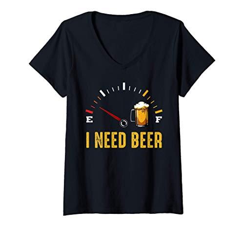 Mujer Necesito un medidor de cerveza Alcohol bebiendo lúpulo Camiseta Cuello V