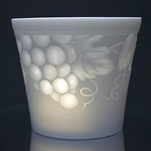 Weimar Porzellan Windlicht Weintraube Lithophanie Tischlicht Teelichthalter NEU OVP