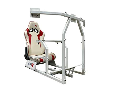 GTR Simulator GTAF-WHT-S105LWHTRD - GTA-F Model (White) Triple or Single Monitor Stand with White/Red Adjustable Leatherette Seat, Racing Simulator Cockpit Gaming Chair Single Monitor Stand Chairs Dining Features Game Home Kitchen Video