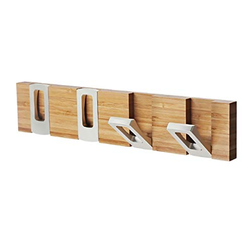 Estante de abrigo montado en la pared de bambú, estante de la toalla de baño, gancho de la capa de entrada, gancho de la fila invisible plegable, con 4 ganchos de cuarto de baño, armario de cocina, or