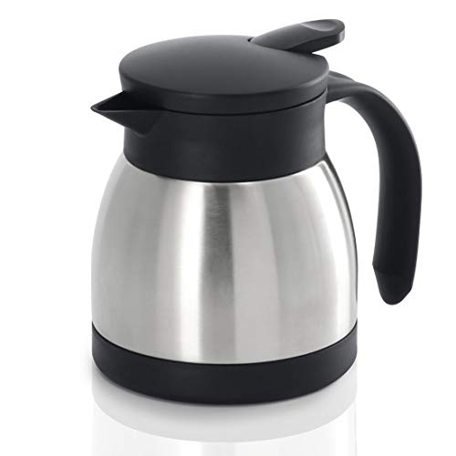 Xavax Isolierkanne 400 ml (kleine Kaffeekanne/Teekanne aus Edelstahl, Thermokanne mit Einhandbedinung und Griff) silber schwarz