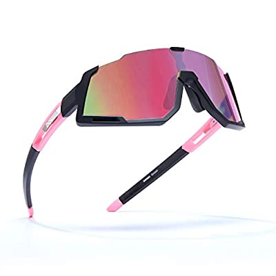 DOVAVA Polarized Cycling Sunglasses Sports UV400 Protection for Men and Women, TR90 Frame with 3 Interchangeable HD Clear Lenses, Pink-Black