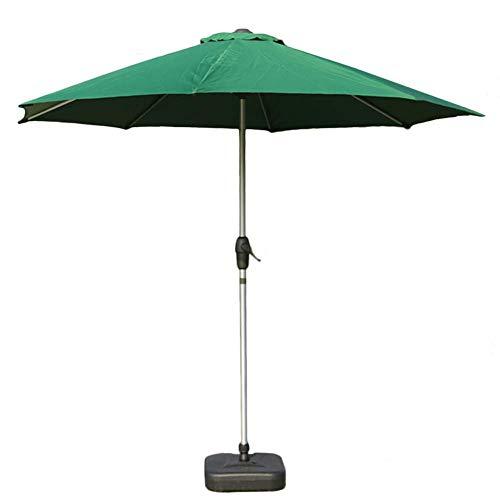 DFBGL Paraguas de Aluminio para Patio al Aire Libre de 9 'con manivela y 8 Varillas Resistentes para jardín, Patio Trasero, terraza, Junto a la Piscina y más (Color: Verde, Tamaño: 9 pie