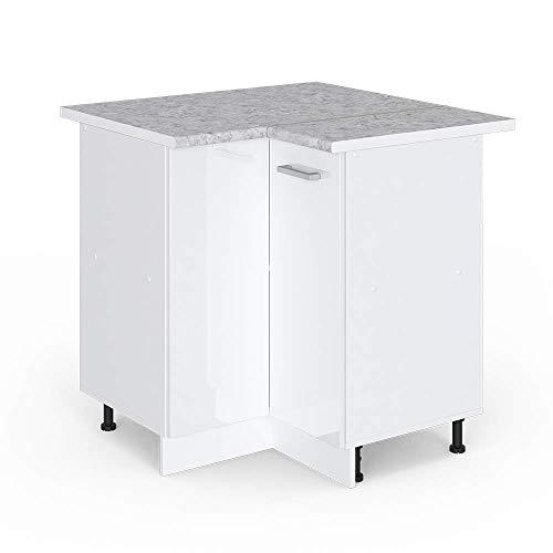 Vicco Küchenschrank Hängeschrank Unterschrank Küchenschränke Küchenunterschrank Arbeitsplatte, Möbel verfügbar in anthrazit und weiß (weiß mit Arbeitsplatte, Eckunterschrank 87 cm)