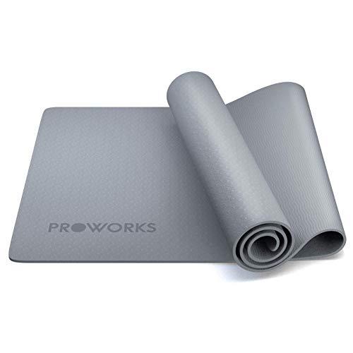 Alfombra de yoga Proworks, antideslizante, 6 mm, TPE ejercicio y entrenamiento de fitness, con correa de transporte, para yoga, ejercicio en casa, gimnasia y pilates 183 x 58 x 0,6 cm, color gris
