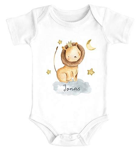 SpecialMe® Baby Body mit Namen Bedrucken Lassen Tier-Motive Nashorn Löwe Elefant Watercolor Kurzarm Bio Baumwolle Löwe weiß 0-3 Monate
