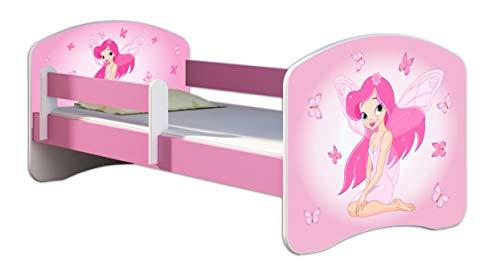 Kinderbett Jugendbett mit einer Schublade und Matratze Rausfallschutz Rosa 70 x 140 80 x 160 80 x 180 ACMA II (07 Rosa Fee, 70 x 140 cm)