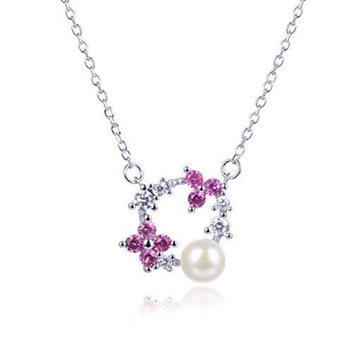 YAZILIND Collar de Plata Esterlina de Las Mujeres de Cadena Larga Ajustable Perlas de Imitación con Flor Collares Pendientes para Las Mujeres Regalo