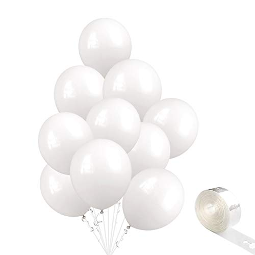10-Inch Thicken White Balloons 100-Pack, Snow-White Matte Latex Balloons, Winter Theme Helium Balloons, Dream Party Balloons for Wedding, Proposal, Bachelorette Shower, Birthday Decorations Supplies