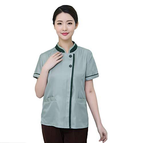 WanYangg Unisex Hotel Berufsbekleidung Atmungsaktiv Kellner uniform mit verdeckten Druckknöpfen Kurzarm Sommer 8#Grün XL