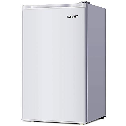 KUPPET-Mini Refrigerator Compact Refrigerator-Small Drink Food Storage Machine for Dorm, Garage, Camper, Basement or Office, Single Door Mini Fridge, 3.2 Cu.Ft, Stainless Steel