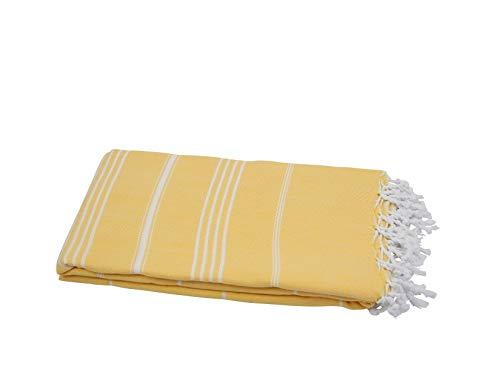 My Hamam, Tagesdecke Plaid, Hamam Decke Strandtuch XXL Sonnengelb mit Streifen & Fransen, ca. 160x215 cm Sultan Style