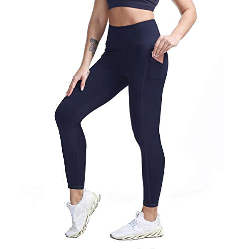FIRM ABS High Waist Yoga Pants 4 Way Stretch Leggings with Pockets Navy S