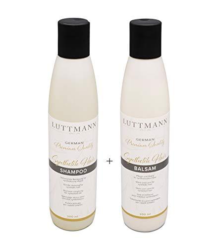 LUTTMANN® Synthetik Hair Shampoo & Balsam Pflegeset je 200 ml - German Premium Quality für Kunsthaarperücken & Haarteile