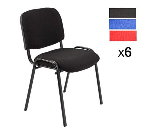 Set di 6 sedie attesa ufficio sala conferenze comode impilabili in tessuto (nero)