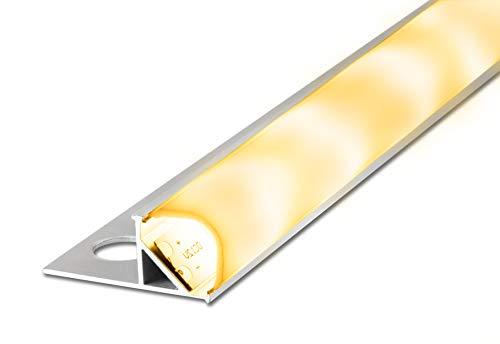 2 m FUCHS La pista de baldosas de LED 12 mm Perfil redondo brillante inkl. Raya de LED blanco cálido, Aluminio anodizado, acero inoxidable plateado con cubierta (blanco lechoso)