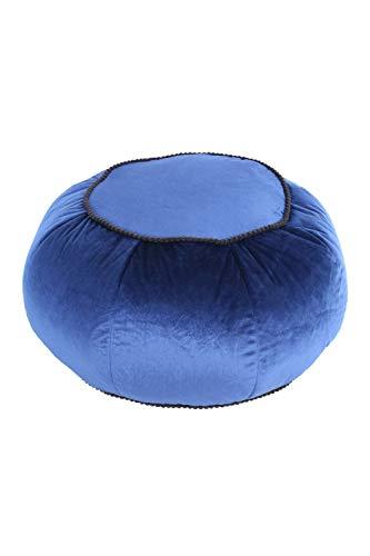 One Couture Pouf - Taburete Redondo Oriental (Terciopelo, 60 cm de diámetro), Color Azul