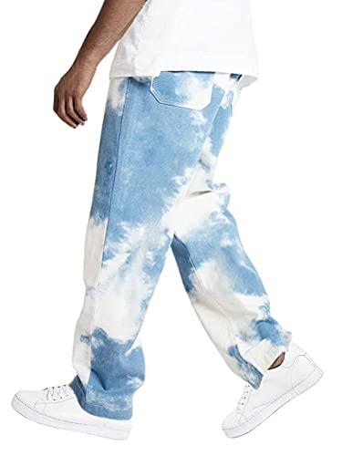 Shownicer Herren Patchwork Jeans Relaxed Fit Jeanshose Denim Hosen Baggy Hip Hop Jeans Hose mit Weitem Bein Straight Leg Vintage Color Block Streetwear (M, C Blau)
