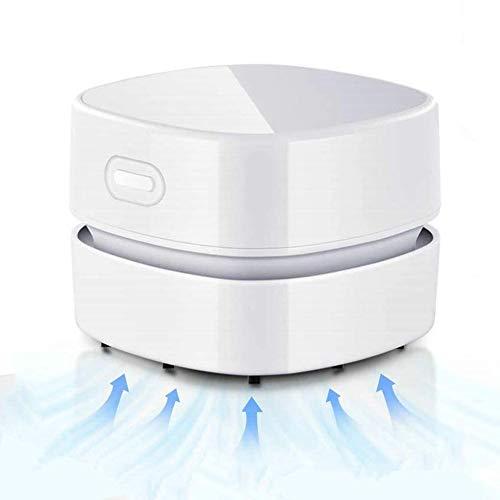 Yiyu Isch Staubsauger, USB Wiederaufladbar, Mini Staubsauger, Tragbar Kabellos Tischstaubsauger Mit 90 Minuten Laufzeit, 360° Drehbar, Mini Handstaubsauger x (Color : White)