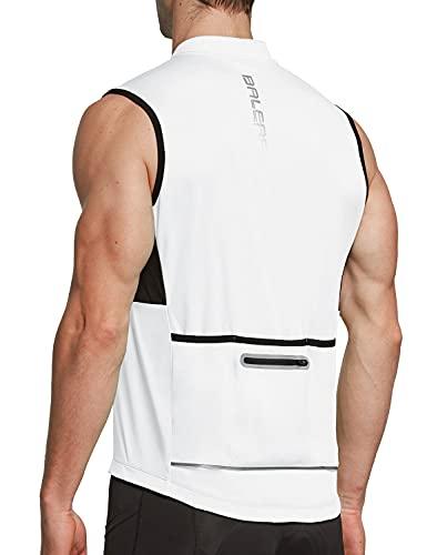 BALEAF Men's Sleeveless Cycling Jersey Road Bike Shirt Bicycle Full Zip Running Tank Tops Pocket SPF White L