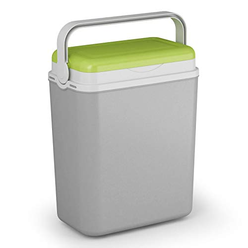 Kühlbox Kühltasche Kühlbehälter mit Deckel für Getränke Flaschen Speisen klein 12 Liter grau grün Camping Auto LKW Sport Garten Reise Strand Picknik Caravan Wandern robust passiv Kühlboxen Styropor