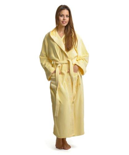 Ongemo Damen Frottee Bademantel 100% Baumwolle 440 g/m² Kapuze gelb Größe S-M