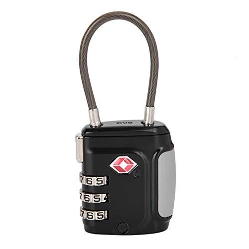 Zyyini Zahlenschloss, Ziffern-Vorhängeschloss, 542B 3 Paar Passwort TSA-Stahl-Drahtseil-Code-Schloss für Schulschließfächer Zaun Gepäckschloss